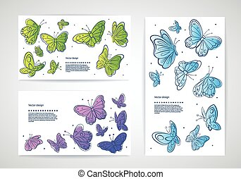 Set of vector butterfly business cards