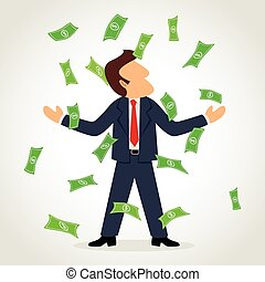 Money Rain - Simple cartoon of a businessman rained for...