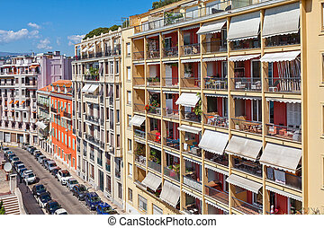 Residential complex in Nice, France - View of colorful...