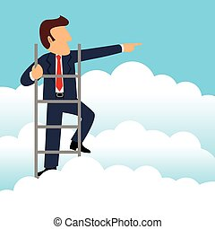 A Better View - Simple cartoon of a businessman get a better...