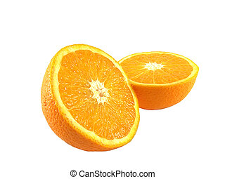 Sliced fresh orange fruit two halves isolated over white...
