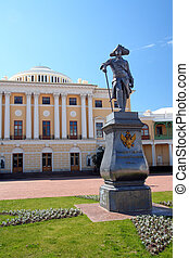Pavel 1 statue and Grand palace in Pavlovsk park...