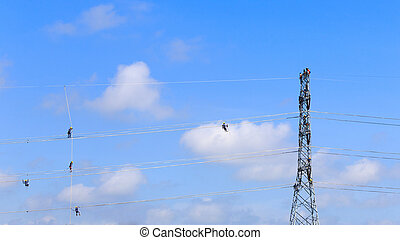 eletricista, trabalhador, em, escalando, trabalho, ligado,...