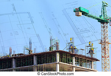 Construction Site with worker on blue sky