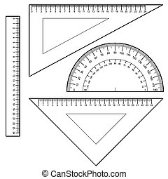 Protractor Ruler set Vector - image of Protractor Ruler set...
