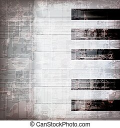 abstract grunge piano background with piano keys