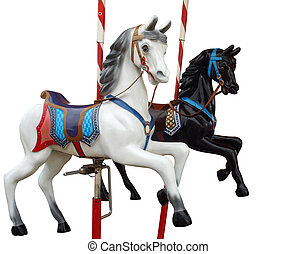 Two Merry-Go-Round Horses isolated with clipping path...