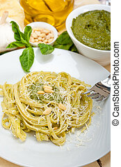 Italian traditional basil pesto pasta ingredients parmesan...