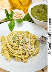Italian traditional basil pesto pasta ingredients parmesan...