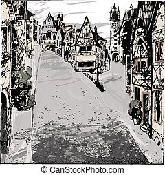 Old town drawing