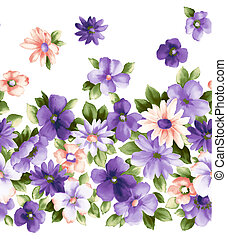 purple flower - illustration drawing of pretty purple flower...