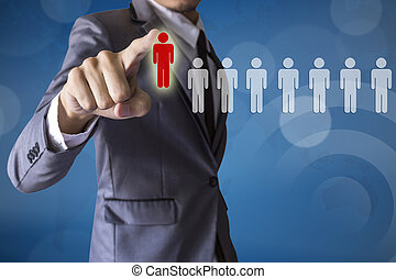 Businessman select leader career of business conceptual