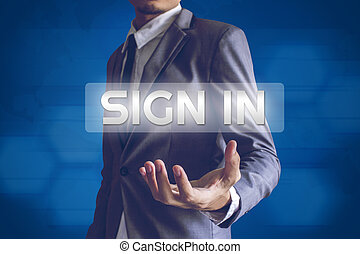 Businessman or Salaryman with Sign in text modern interface...