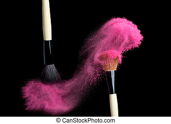 Make up brush with pink powder isolated on black - Make up...