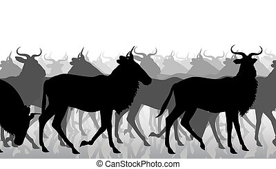 Wildebeest migration - EPS8 editable vector cutout...