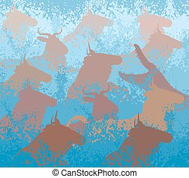Wildebeest swimming river - EPS8 editable vector cutout...