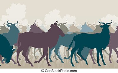 Wildebeest herd - EPS8 editable vector cutout illustration...