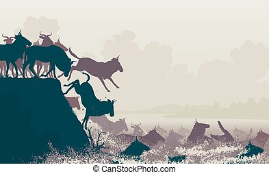 Wildebeest river crossing - EPS8 editable vector cutout...