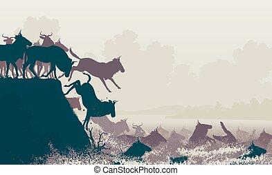 Wildebeest river crossing - EPS8 editable vector cutout...