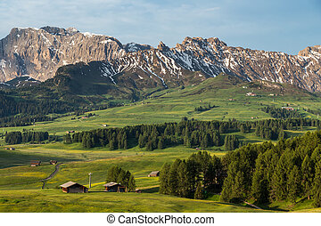 Lankoffel mountain range View from Seiser Alm, Dolomites,...