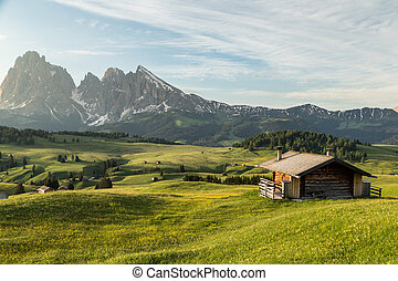 Lankoffel mountain range. View from Seiser Alm, Dolomites,...