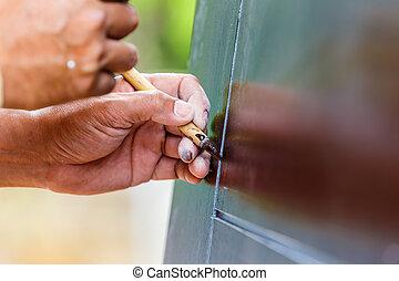 Painting a brown door