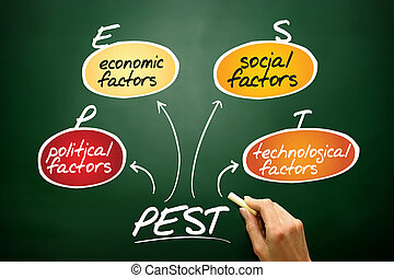 PEST Analysis flow chart, business concept on blackboard