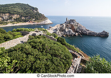 Landscape with the church of St Peter in Porto Venere, Italy...