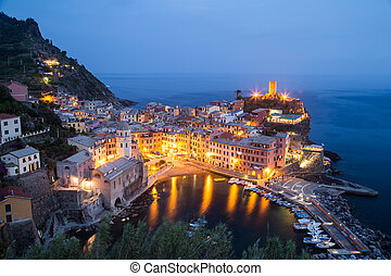 Aerial view of Vernazza - small italian town in the province...