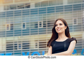 Young Businesswoman Out in the City - Elegant woman in...