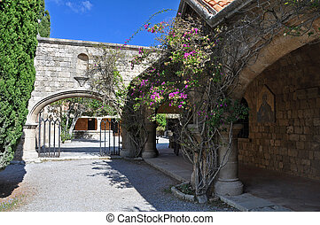 Courtyard at Ialyssos Monastery Rhodes - Cloisters and...