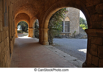 Cloisters and frescoes at Ialyssos Monastery Rhodes -...
