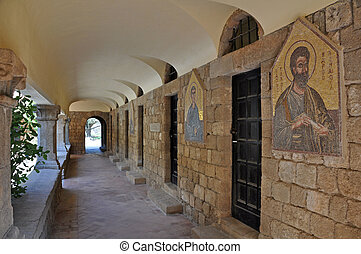 Frescoes at Ialyssos Monastery Rhodes - Cloisters and...