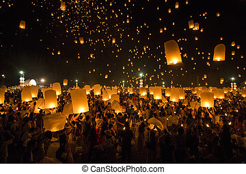 Floating lanterns yeepeng or loi krathong festival at Chiang...