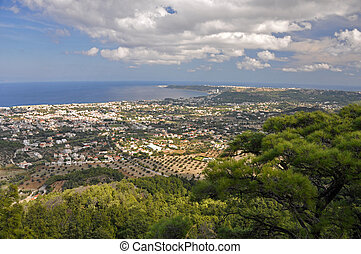 View from Ialyssos monastery overlooking the towns of...