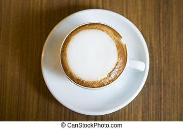 café, Cappuccino, copo, casa, quentes, madeira, tabela,...