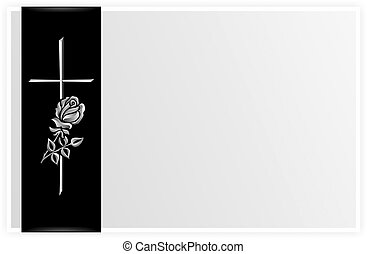 obituary template with rose and cross on black ribbon