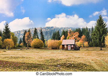 Mountain hut - Small mountain hut in the Romanian...