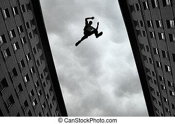 homem, Pular, De, telhado, Para, telhado,
