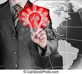 luz, Tocar, idéia, negócio, homem