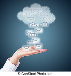 Open Palm Receiving Email Icons From The Cloud - Many email...