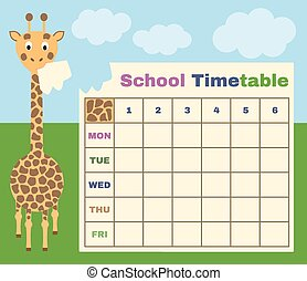 school timetable with giraffe - vector school timetable with...