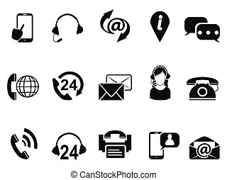 black contact us service icons set