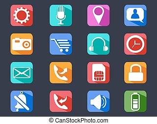 mobile phone long shadow icons set