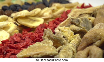 Variety of Dried Fruits and Berries - Moving past the camera...