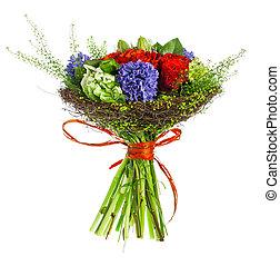 ramo, de, rosas, Hyacinthus, y, verde,