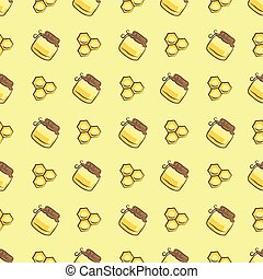 honeycomb and honey jar pattern - Seamless pattern with...