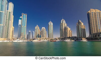 DUBAI, UNITED ARAB EMIRATES, view on Dubai Marina Canal...