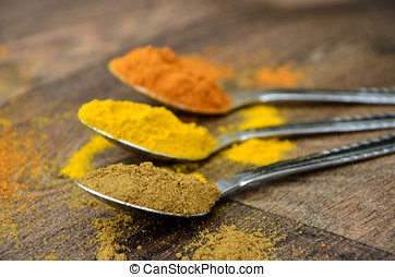 Colourful Curry Spices in Ornate Silver Spoons on a Dark Wooden