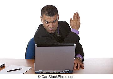 Business man has computer crash